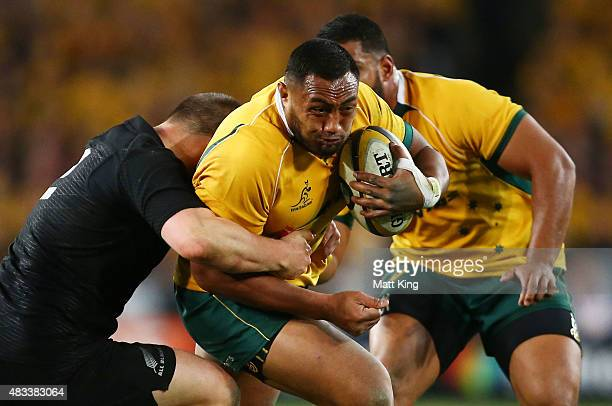 Sekope Kepu of the Wallabies is tackled during The Rugby Championship match between the Australia Wallabies and the New Zealand All Blacks at ANZ...
