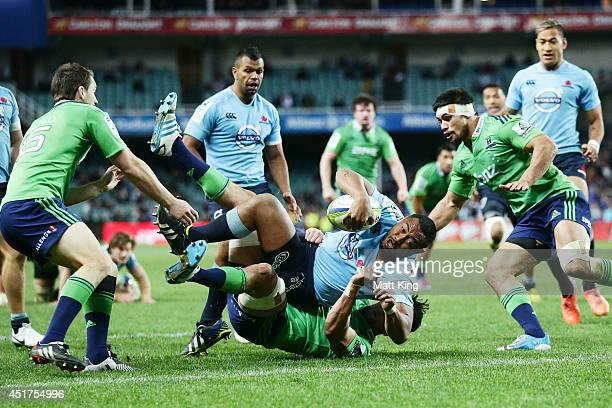 Sekope Kepu of the Waratahs reaches out to score a try during the round 18 Super Rugby match between the Waratahs and the Highlanders at Allianz...