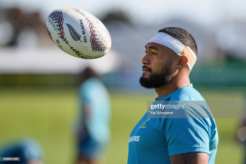 Sekope Kepu warms up during an Australian Wallabies training session at Linwood Rugby Club on August 22, 2017 in Christchurch, New Zealand.