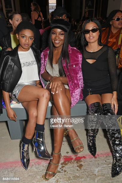 Selah Marley Ray BLK and Mabel McVey attend Topshop's London Fashion Week show on September 17 2017 in London England