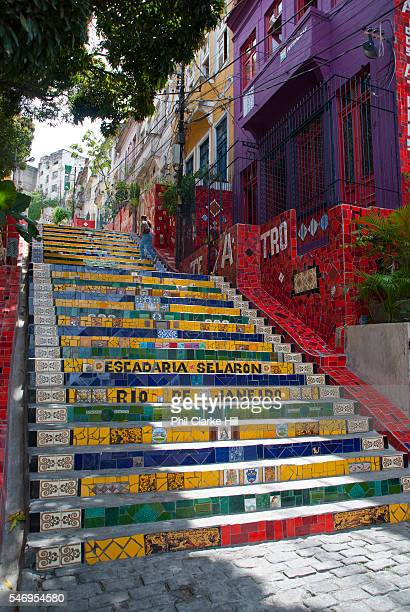Selaron stairs in the bohemian dsitrict of Lapa Rio de Janeiro consists of thosands of tiles from all around the World and has been used for the...