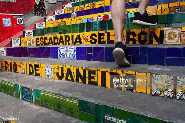 Selaron Stairs tiling Lapa central city Rio de Janeiro
