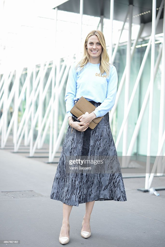 Selby Drummon poses wearing a Trade Mark top and Tabitha Simmons shoes on February 28 2015 in Milan Italy