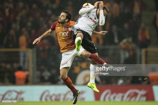 Selcuk Inan of Galatasaray Cenk Tosun of Besiktas JKduring the Turkish Spor Toto Super Lig football match between Galatasaray SK and Besiktas JK on...
