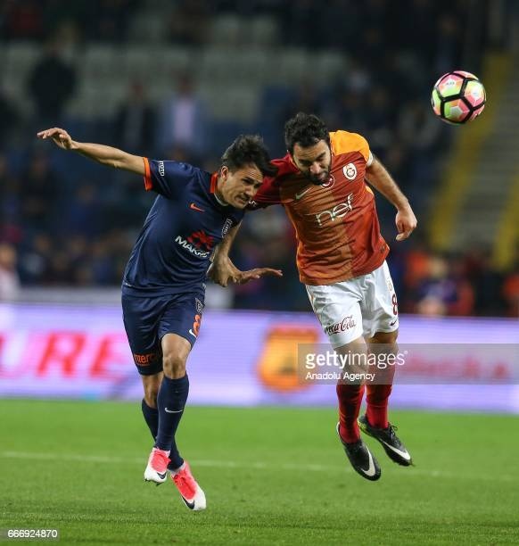Selcuk Inan of Galatasaray in action against Marcio Mossoro of Medipol Basaksehir during the Turkish Spor Toto Super Lig football match between...