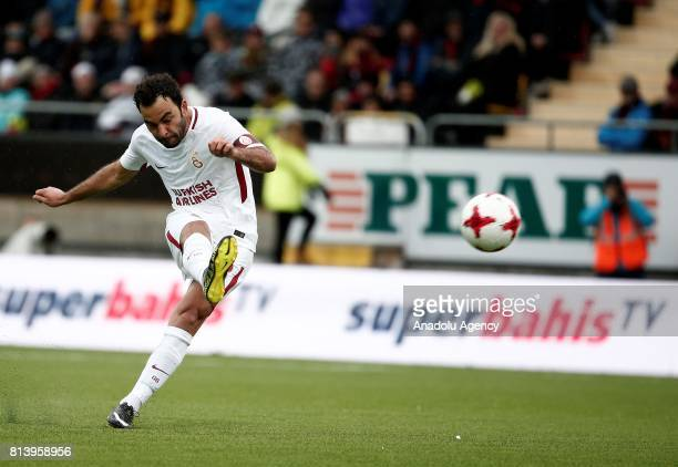 Selcuk Inan of Galatasaray in action during the UEFA Europa League 2nd Qualifying Round soccer match between Galatasaray and Ostersund FK at...