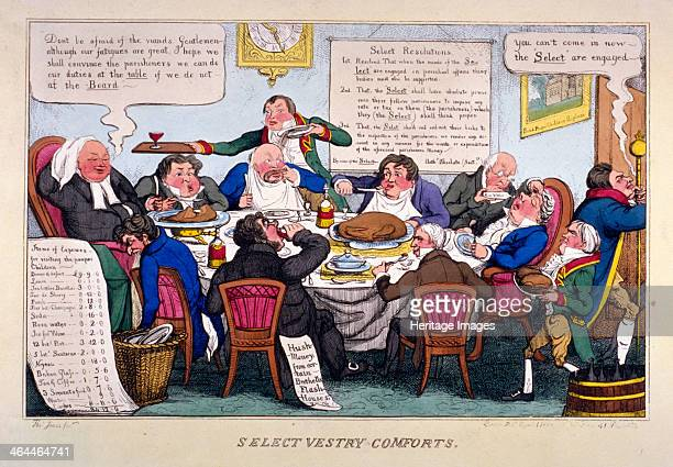 'Select vestry comforts' 1828 Eight of the select vestry of St Paul's Covent Garden dining in the vestry room At the head of the table is the vicar...