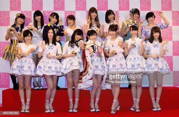 Selected members of AKB48 pose for photographs during the AKB48 37th Single General Election at Ajinomoto Stadium on June 7 2014 in Chofu Tokyo Japan