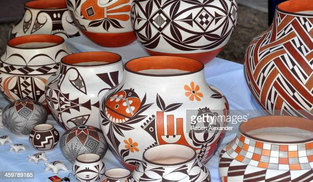 A selection of Acoma Pueblo pottery for sale at the annual Santa Fe Indian Market in Santa Fe New Mexico