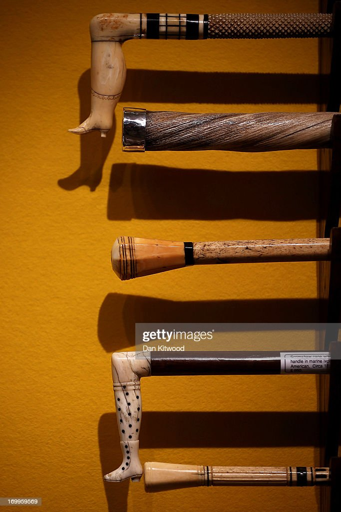 A selection of antique walking sticks are displayed ahead of the Olympia 'International Fine Art and Antiques Fair' at Olympia Exhibition Centre on June 5, 2013 in London, England. The 41st Olympia Arts and Antiques fair hosts 180 dealers selling items of 20th century design, ceramics, carpets, art deco, 18th and 19th century English furniture, modern British art and tribal art amongst other things. It will open to the public tomorrow until 16 June, 2013.