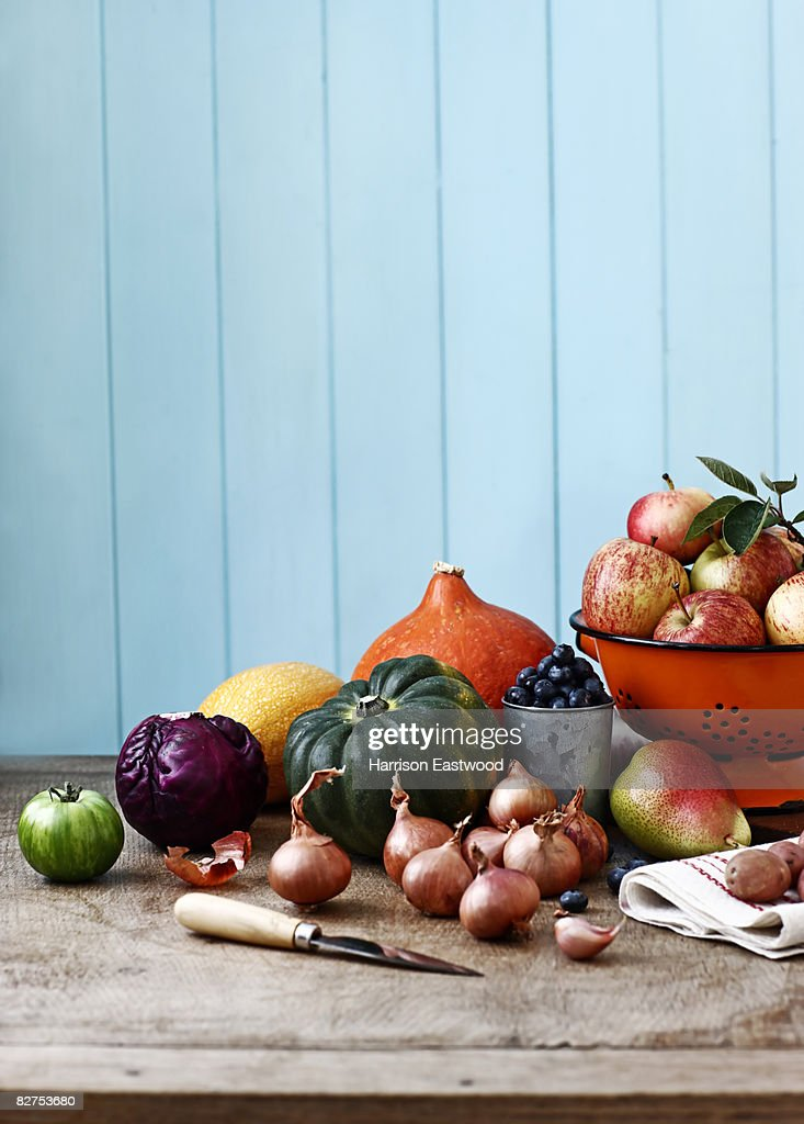 selection of Autumn fruit and vegetables on table : Stock Photo