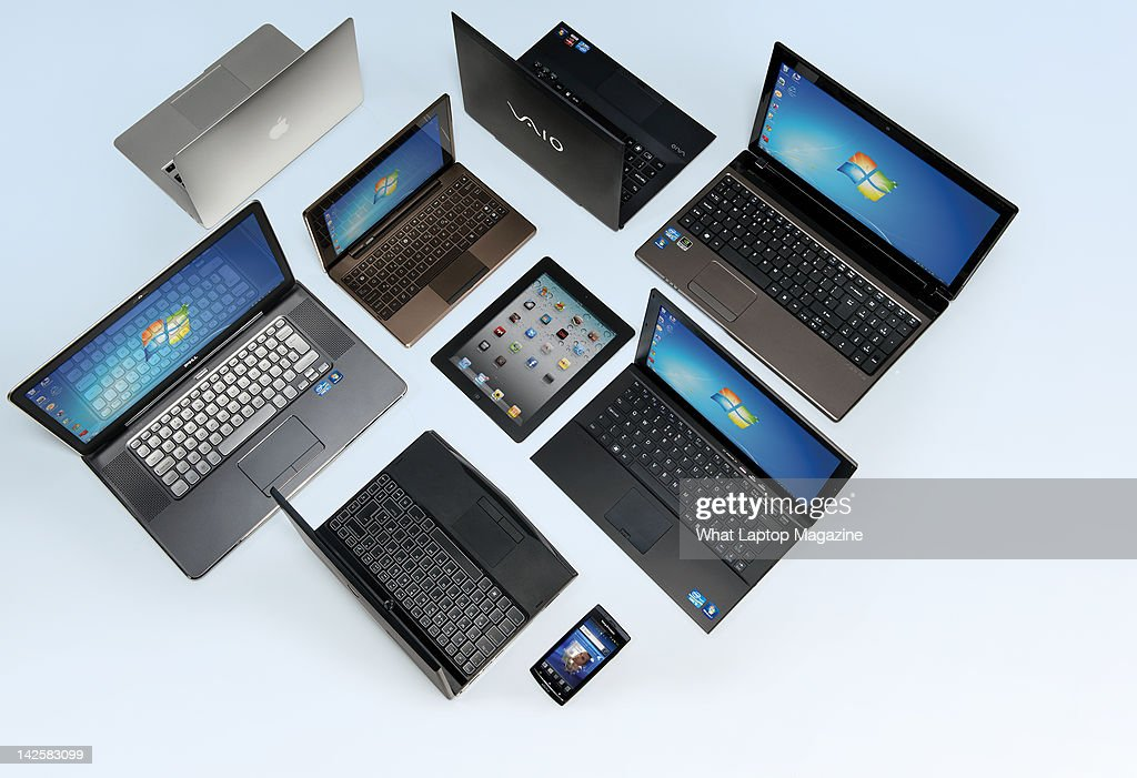 A selection of award winning laptops, tablets and smartphones, September 21, 2011.