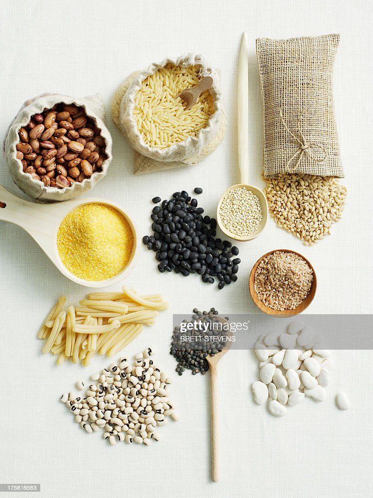 Selection of beans and pulses : Stock Photo
