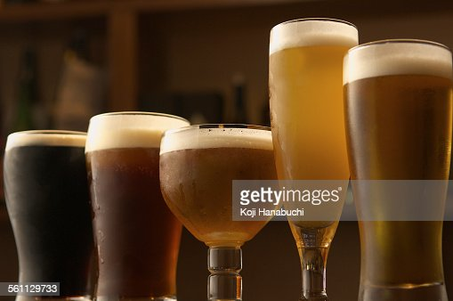 Selection of beers in glasses