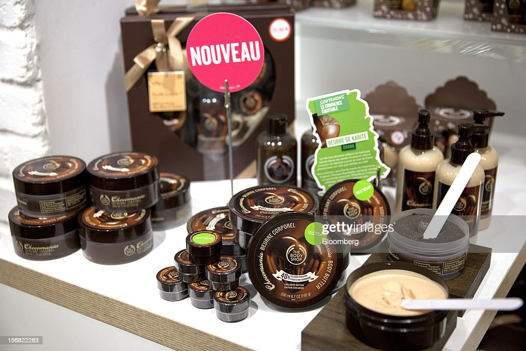 A selection of Body Shop Chocomania products are seen on display at a store in Paris, France, on Wednesday, Nov. 21, 2012. Body Shop International Plc Chief Executive Officer Sophie Gasperment has introduced organic lines and updated products like Hemp Hand Protector with Community Fair Trade ingredients after L'Oreal, the world's largest maker of cosmetics, bought the company in 2006. Photographer: Balint Porneczi/Bloomberg via Getty Images