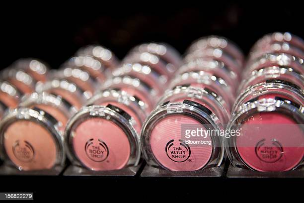 A selection of Body Shop cosmetic blushers as seen on display at a store in Paris France on Wednesday Nov 21 2012 Body Shop International Plc Chief...