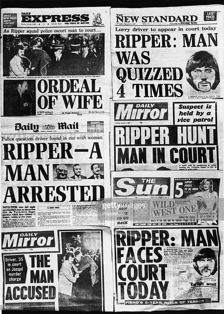 A selection of British newspaper front pages published the day serial killer Peter Sutcliffe, also known as the Yorkshire Ripper, made his first appearance in court, where he was charged with 13 counts of murder, 5th January 1981.