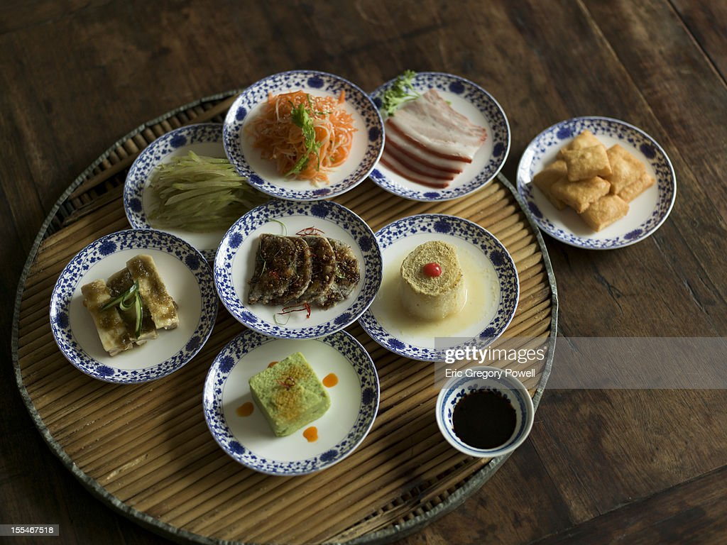 A selection of Chinese cold dish, appetizers : Stock Photo