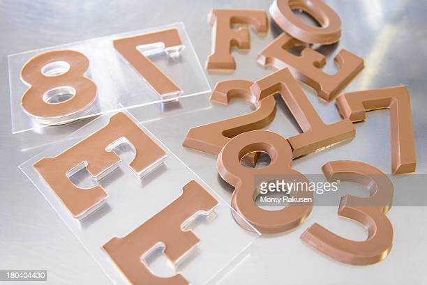 Selection of chocolate numbers and letters in chocolate factory