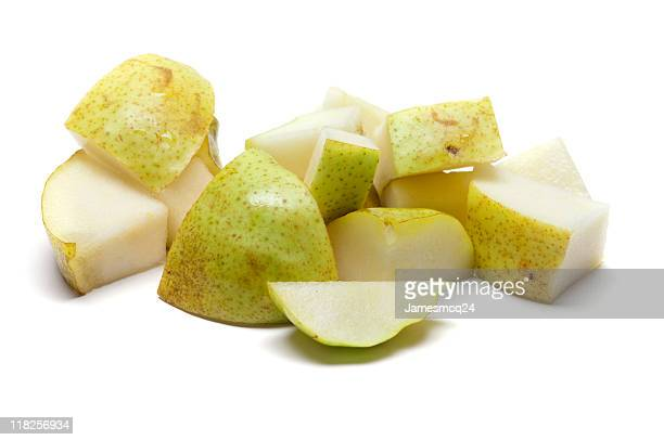 A selection of chopped up bits of pear