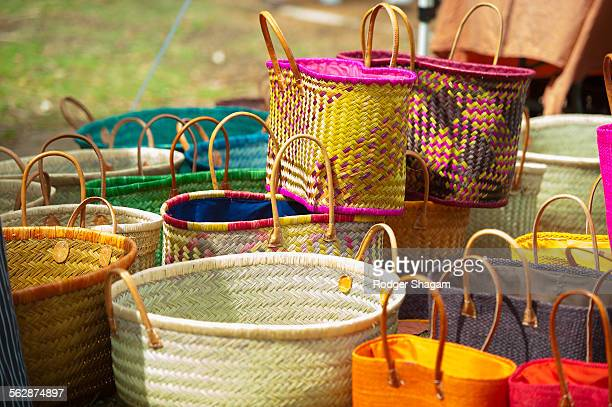 Selection of colourful, hand-crafted baskets, South Africa