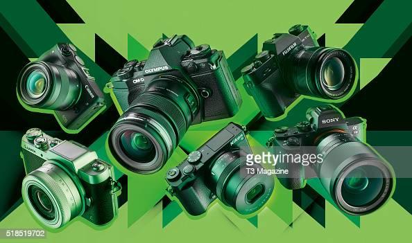A selection of compact system digital cameras including Canon EOS M3 Olympus OMD EM5 II Fujifilm XT10 Sony A7 II Nikon 1 J5 and a Panasonic Lumix...