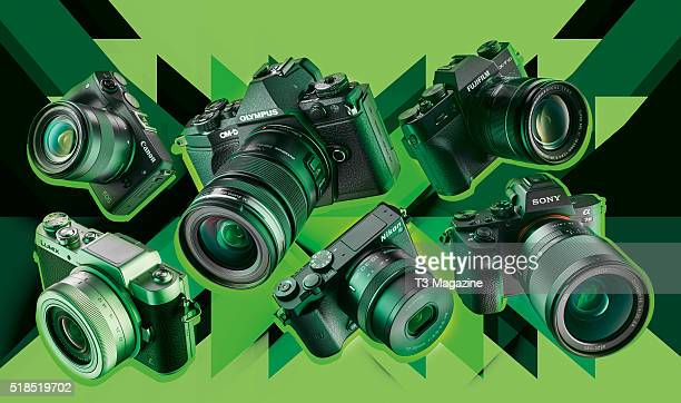A selection of compact system digital cameras including Canon EOS M3 Olympus OMD EM5 II Fujifilm XT10 Sony A7 II Nikon 1 J5 and a Panasonic Lumix...