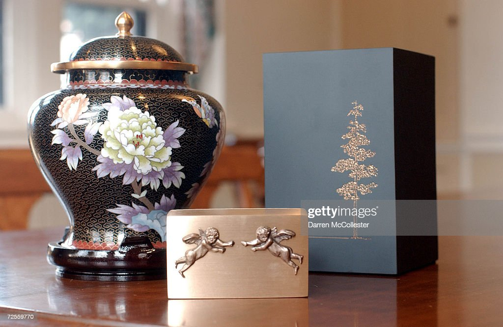 A selection of crematory urns available at Mount Auburn Cemetary is shown February 21 2002 in Watertown MA The cemetary has been performing...