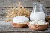 Selection of dairy products on rustic wood bacground, copy space