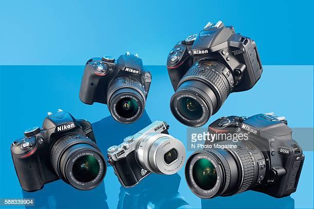 A selection of digital SLR cameras including a Nikon D3200 Nikon 1 J5 Nikon D3300 Nikon D5300 and a Nikon D5500 taken on October 16 2015
