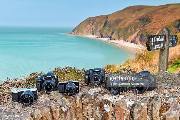 A selection of DSLR and compact system digital camera photographed on a section of the South West Coastal Path in Somerset taken on April 16 2014