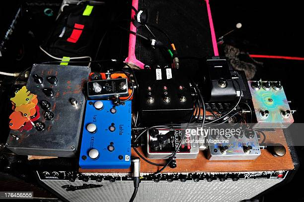 A selection of electric guitar effects pedals used by Judah Bauer of American alternative rock band The Jon Spencer Blues Explosion photographed...