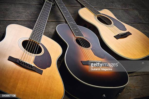 A selection of Fender Paramount acoustic guitars including PM1 PM2 and PM3 models taken on November 3 2015