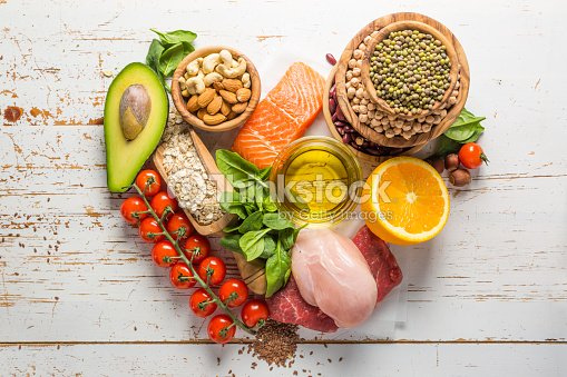 Selection of food that is good for the health and : Stock Photo