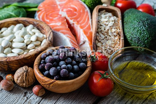 Selection of food that is good for the heart : Stock Photo