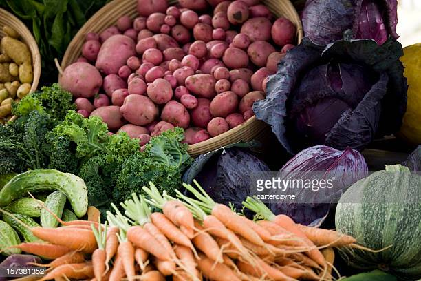 A selection of fresh vegetables at the farmers market