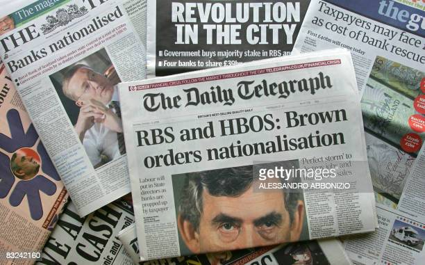 A selection of front pages of British newspapers is pictured in London on October 13 2008 Britain's government is to invest up to 37 billion pounds...