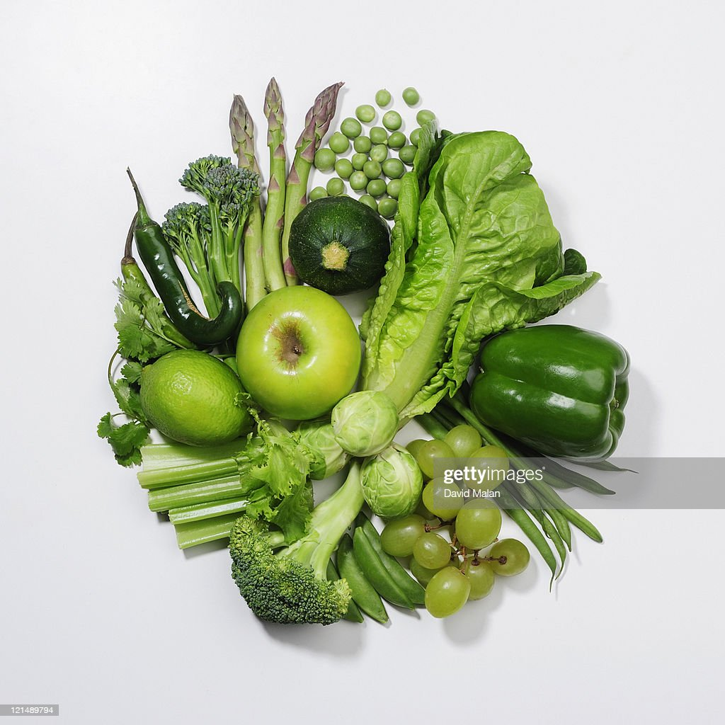 A selection of green fruits & vegetables. : Stock Photo
