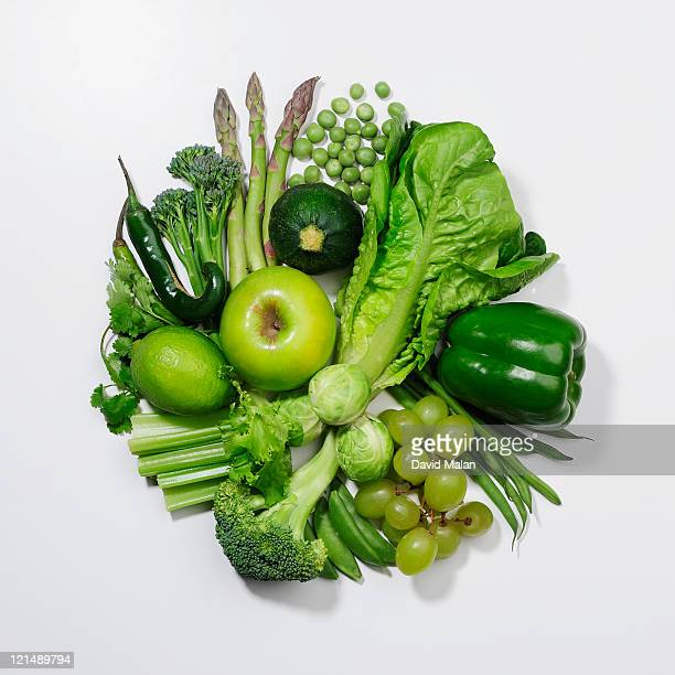 A selection of green fruits & vegetables.