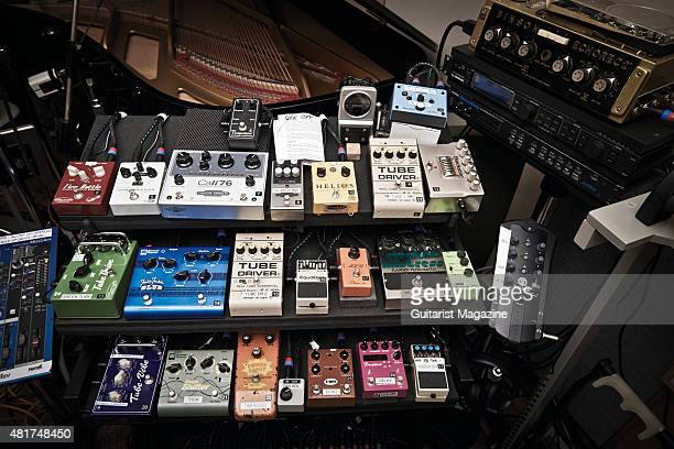 A selection of guitar effects pedals belonging to Pink Floyd guitarist David Gilmour taken on December 5 2014
