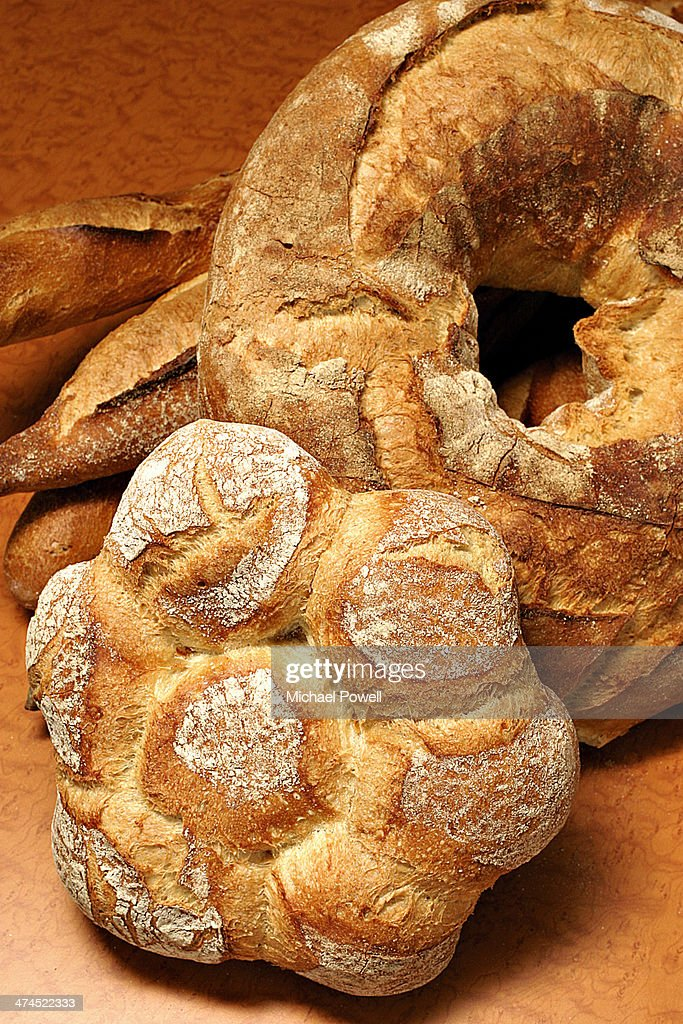 Selection of Handmade artisan French bread on brow : Stock Photo