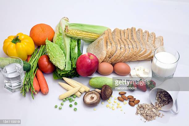 Selection of healthy food on white background