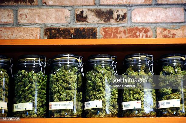 A selection of indica and sativa cannabis flowers on sale at Denver Relief The recreational and medical marijuana shop purports to be the first in...