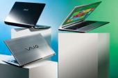 This image has been digitally manipulated A selection of laptop PC's on white plinths for a feature on Windows 8 taken on July 1 2012