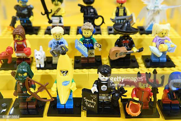 A selection of Lego figures are seen during an opening party event at the new flagship Lego store on November 16 2016 in London England The new...