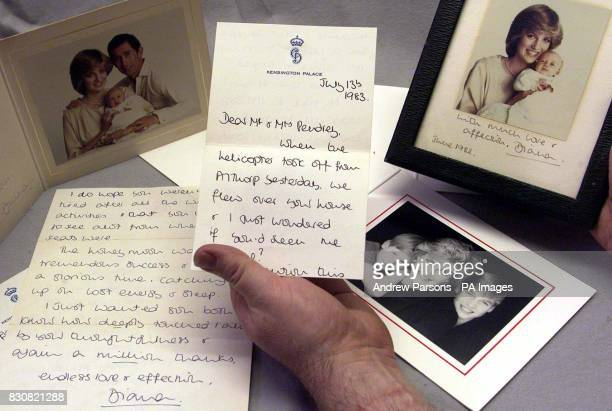 A selection of letters sent from Princess Diana to a former housekeeper at the Spencer family home in Althorp being previewed at Keys Auction House...