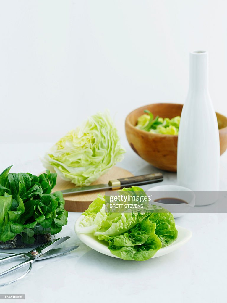 Selection of lettuces with balsamic vinegar and olive oil : Stock Photo
