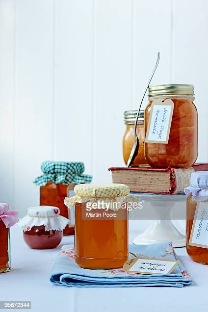 Selection of marmalades on table