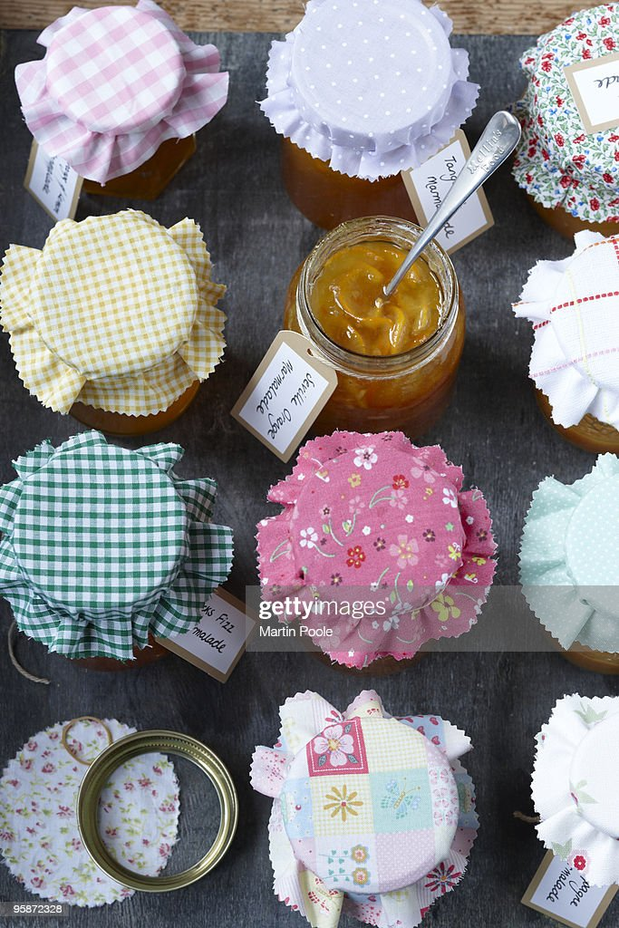 Selection of marmalades overhead