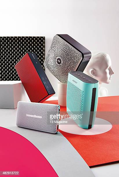 A selection of mini Bluetooth speakers including a Polk Camden Square Bose SoundLink Colour Harman Kardon Esquire Mini and Sony SRSX5 taken on...
